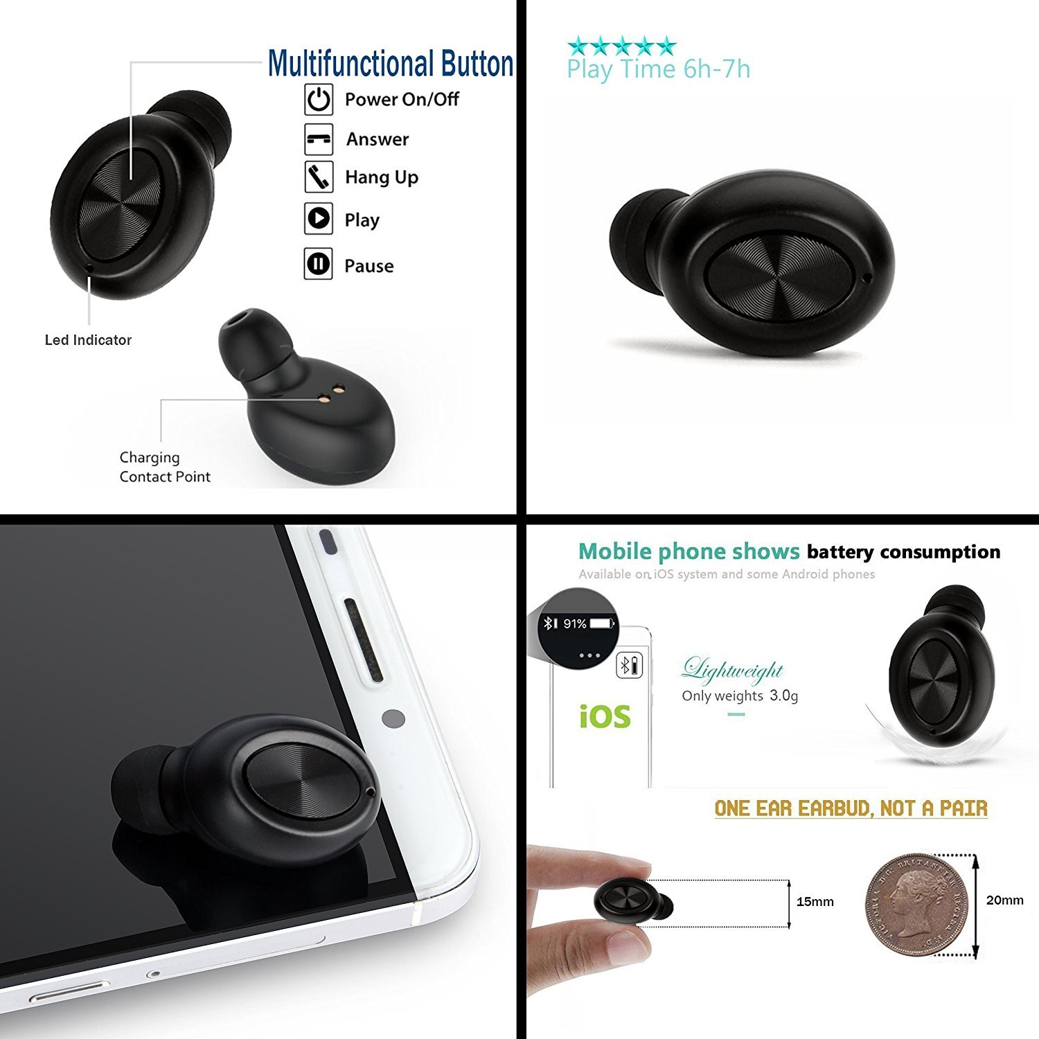 The mini version of the wireless car headset V4.1, with a built-in microphone USB magnetic charge headset for iPhone and Android smartphones(Black)