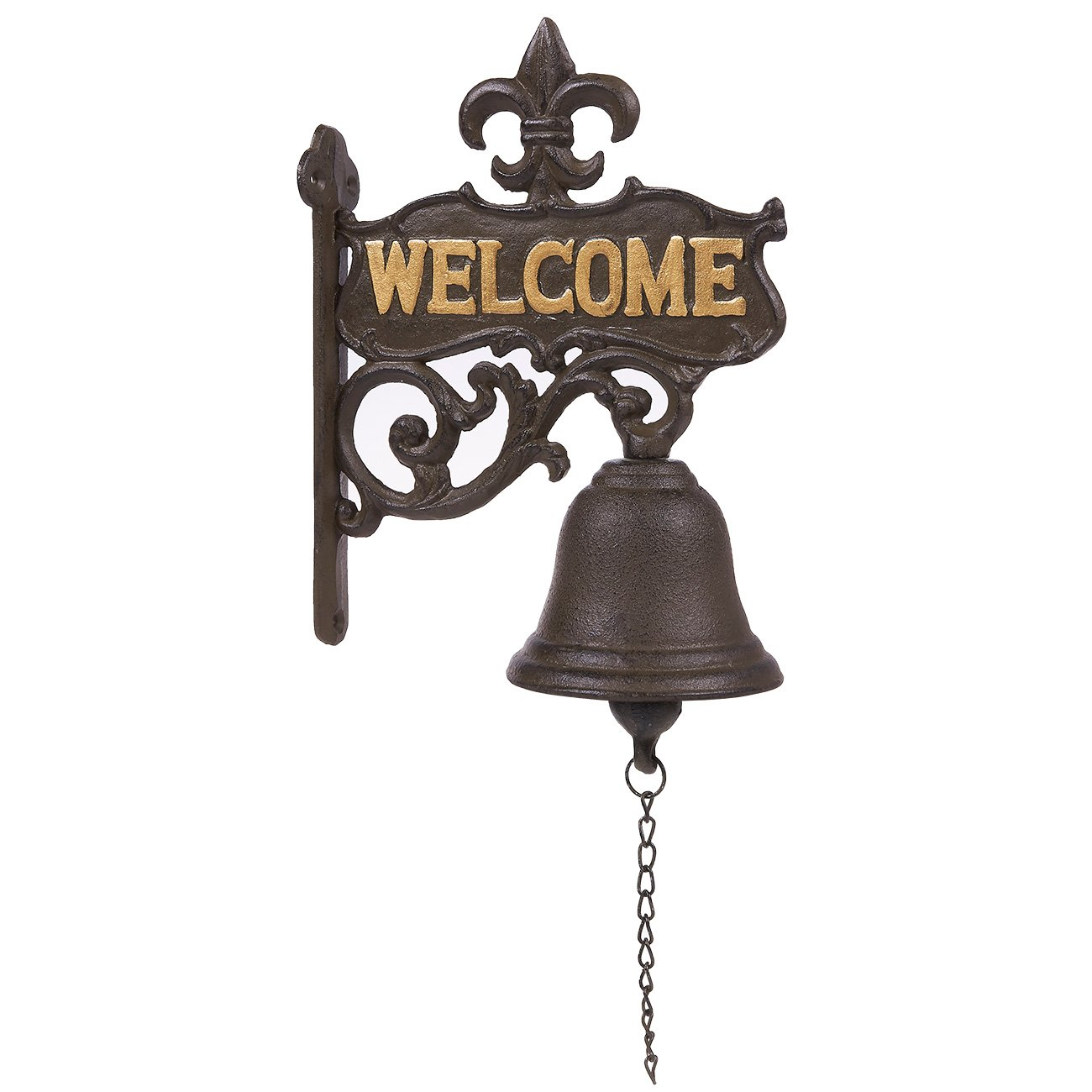 Juvale Cast Iron Bell - Welcome Entry Door Bell, Antique Doorbell Decoration, Front Door, Interior, Exterior Decor, Black - 6.7 x 8.9 x 0.8 inches by Juvale