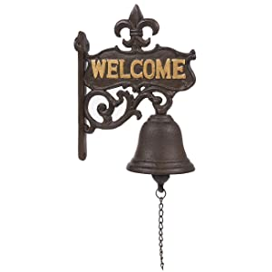 Juvale Cast Iron Bell - Welcome Entry Door Bell, Antique Doorbell Decoration, Front Door, Interior, Exterior Decor, Black - 6.7 x 8.9 x 0.8 inches