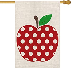 AVOIN Polka Dot Apple House Flag Double Sided, Back to School First Day of School Teacher Appreciation Rustic Farmhouse Yard Outdoor Decoration 28 x 40 Inch