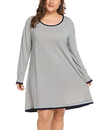 0b348c3d14d Women s Plus Size Sleepwear Long Sleeve Lounge Sleep Dress T Shirt Knit  Night Gown (14W