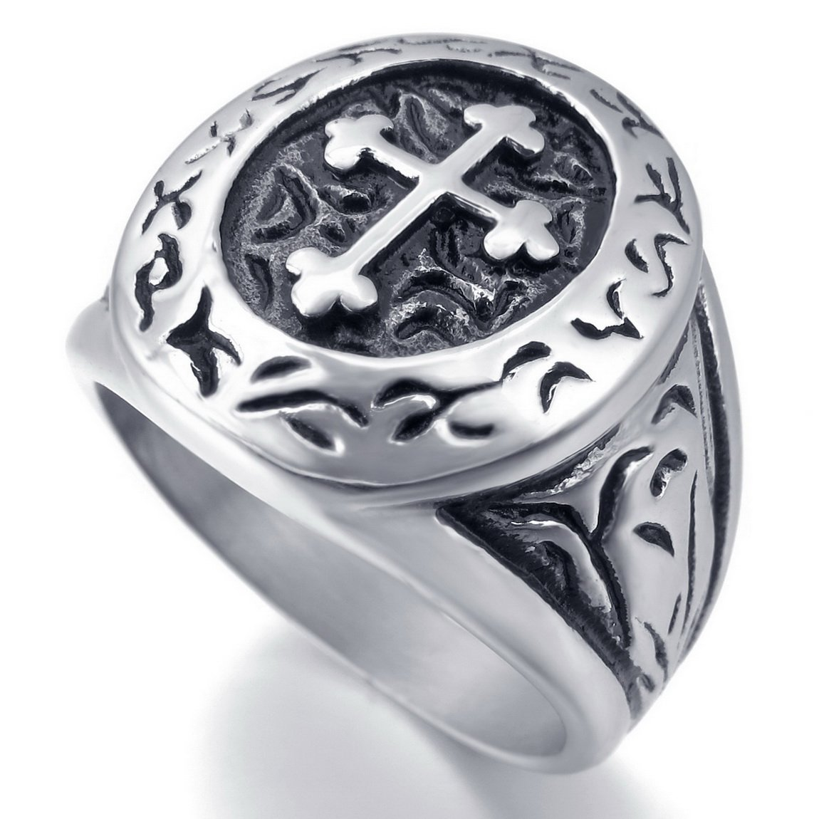 INBLUE Men's Stainless Steel Ring Silver Tone Black Cross Oval Size10 by INBLUE (Image #3)