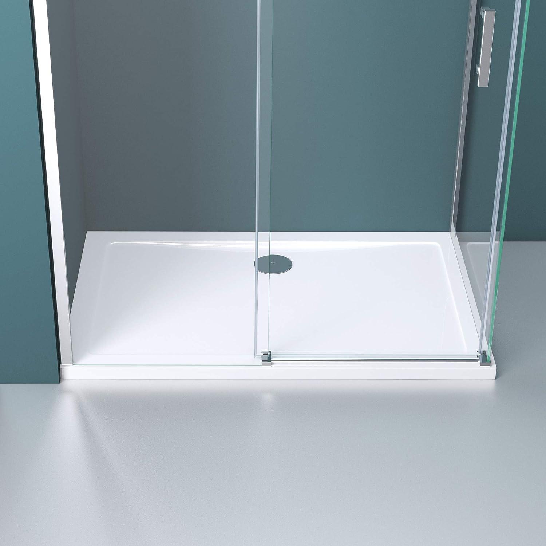 Mai /& Mai Paroi de douche cabine de douche 90x120 avec porte de douche coulissante c/ôt/é droite verre tremp/é transparent receveur compris RAV18