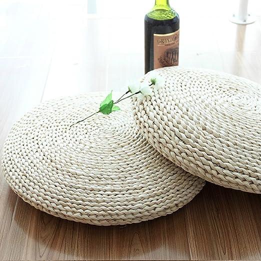 Cojín redondo LB hecho a mano con tejido de maíz acolchado y ...