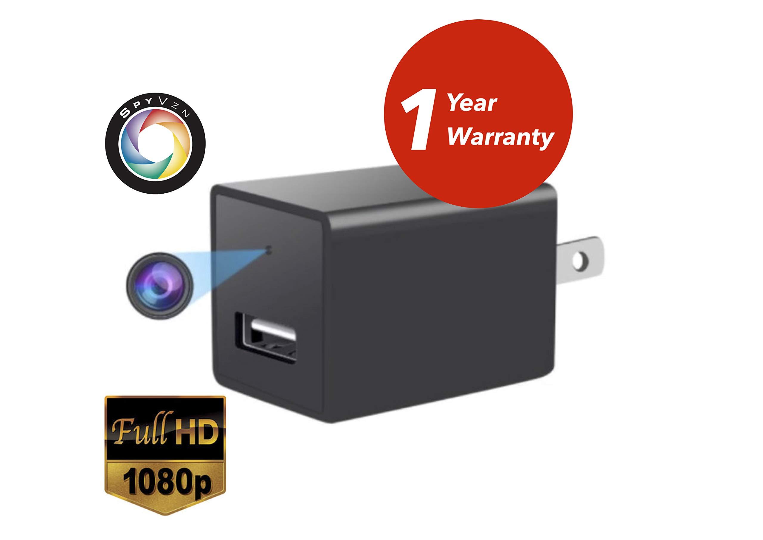 SpyVzn Hidden Spy Camera, WiFi USB Wall Charger Nanny Camera, 32GB SD Card Included