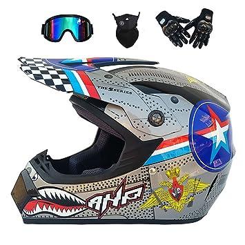 Casco De Motocross Sport Dual Y Motocross MX para Adultos (Guantes, Gafas, Máscara