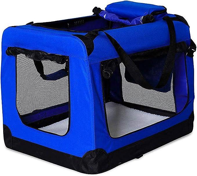 Transportín para perros Bolsa transportín para perros Transportín plegable Autobox Bolsa para animales pequeños (101x68x70 cm (XXXL), azul)