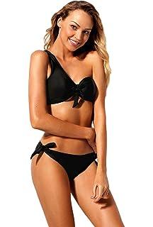 0553cd1dd6 Eozy Femme Maillot De Bain Ensemble 2 Pièces Bikini String Taille Bas Sexy  Respirant Noir