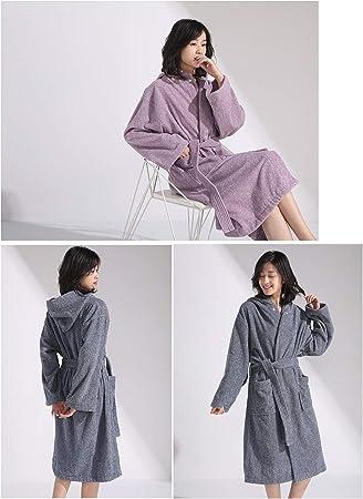 XUMING para Hombre de Las señoras de Albornoz Bata Bata de baño de Rizo Vestidos Estilo japonés 100% algodón Batas de Toalla Mujer de los Hombres,Púrpura,XL: Amazon.es: Hogar