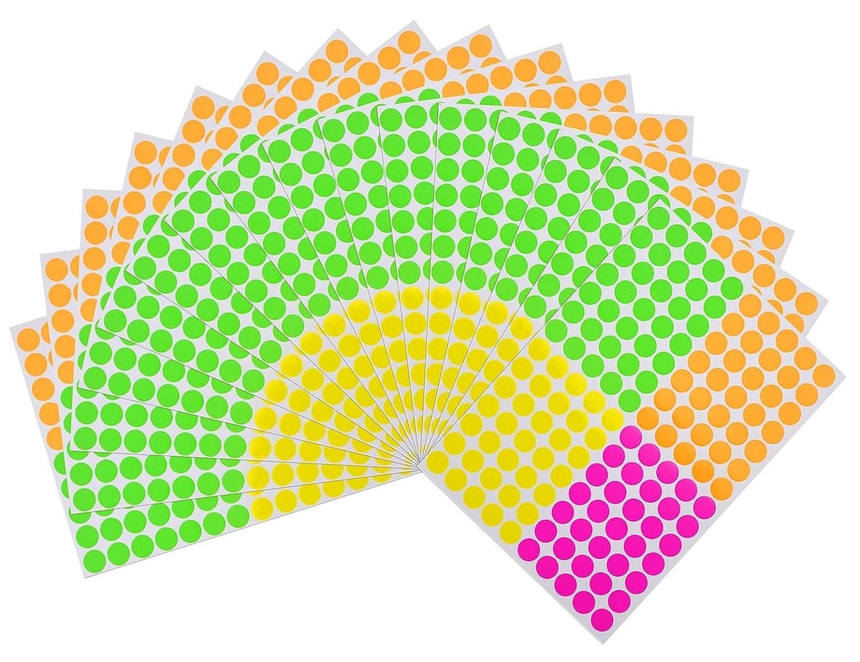 Onupgo confezione da 2240/etichette Round color Coding Circle DOT adesivi vivaci colori neon etichetta Assorted Multi-color 3//10,2/cm fluorescente etichette DOT sticker