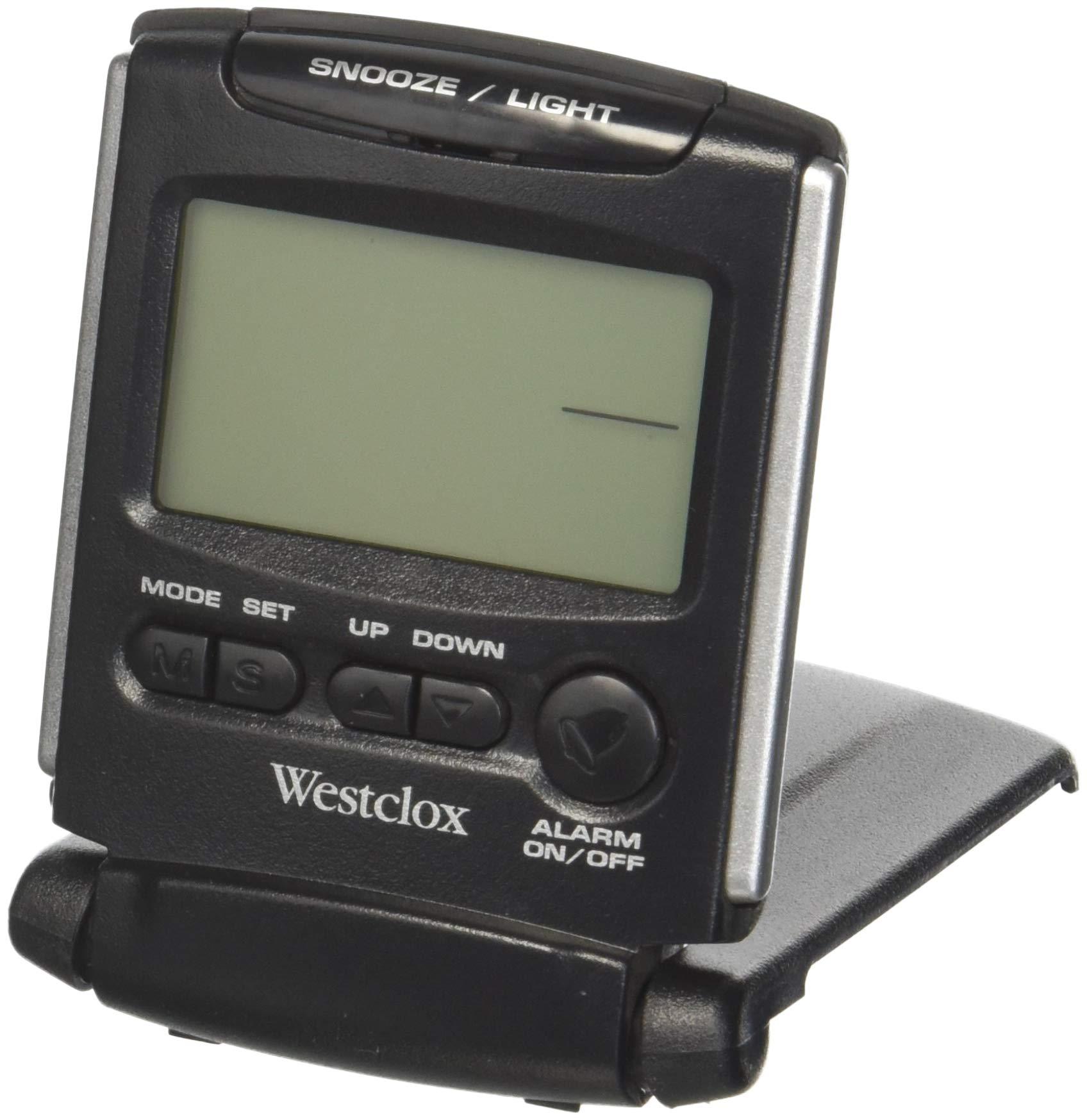 Westclox 72028 Fold-Up Travel Alarm Clock, Medium, Black