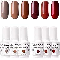 Gellen Gel Polish Set Caramel Colors Series - 6 Colors 8ml Each, Home Gel Manicure Kit