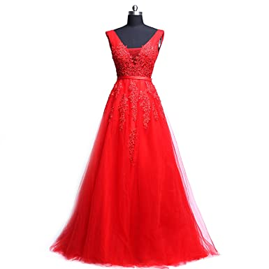 Formal Evening Dress,Prom Gown A-line V-Neck Sweep/Brush Train