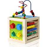 Wooden Activity Cube Bead Maze - NaXY 5 In 1 Learning Activity Center Play Cube Toys for Kids and Toddlers,Educational Toy
