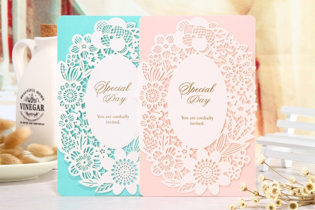 50-Packed Elegant Laser Cut Hollow Flowers Invitations Cards Kit Printable for Wedding, Bridal Shower with Envelopes and Seal Sticker (Pink)