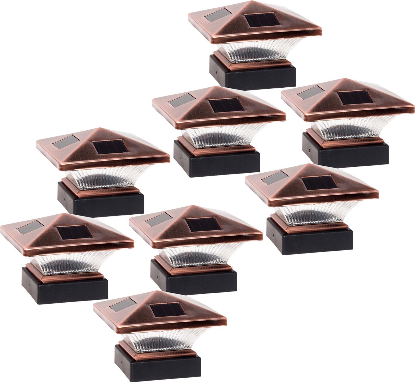 GreenLighting 8 Pack Siena Solar 5 Lumen Deck Patio Post Cap Light for 4x4 Wood Posts (Bronze)