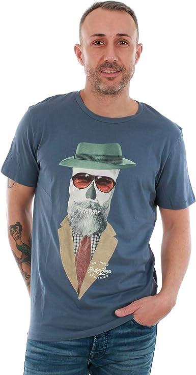 Camiseta Jack&Jones Hombre XXL Azul 12146410 JORART Branch tee SS Crew Neck Vintage Indigo REG: Amazon.es: Ropa y accesorios