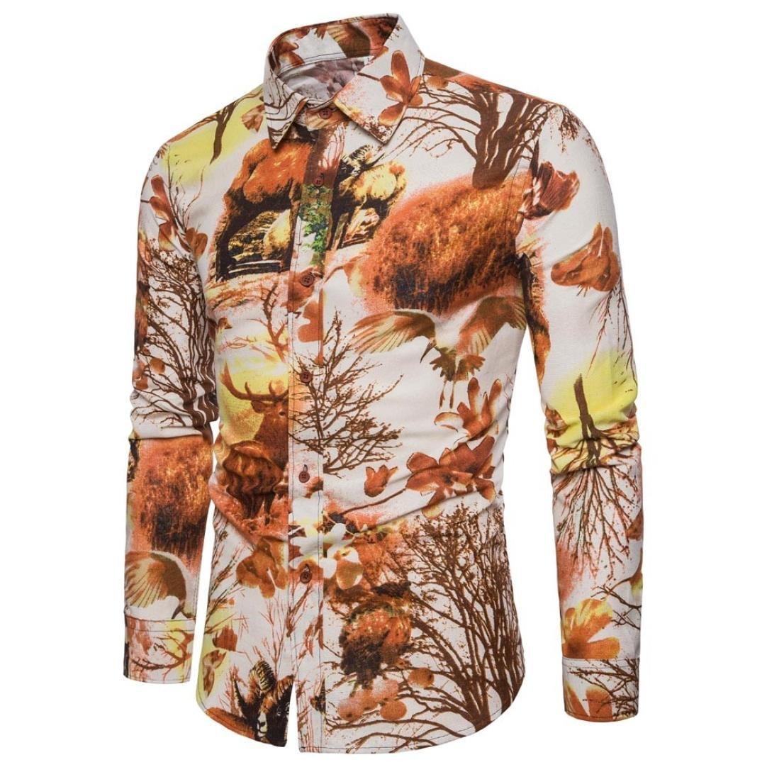 Men's Print Shirt Casual Flax Landscape Button Down Dress Shirts Blouse Zulmaliu(S-5XL) (Yellow, 3XL)