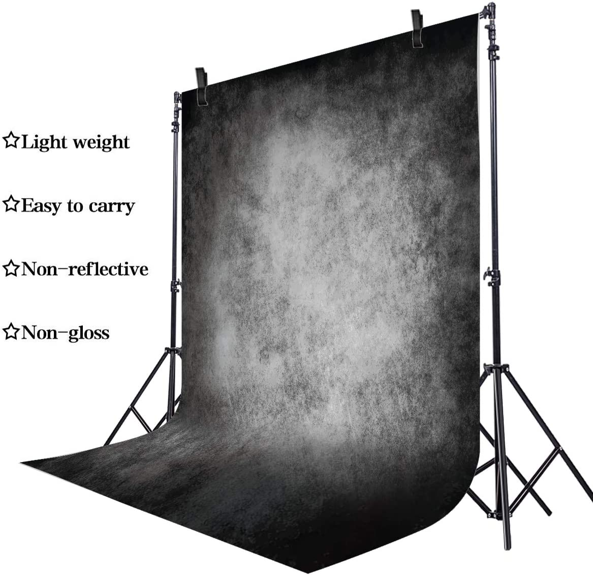 Riyidecor Fabric Rod Pocket Backdrop 5Wx7H Feet Old Art Master Rustic Abstract Black Gray Portrait Photography Backgrounds Home Party Decoration Photo Shoot