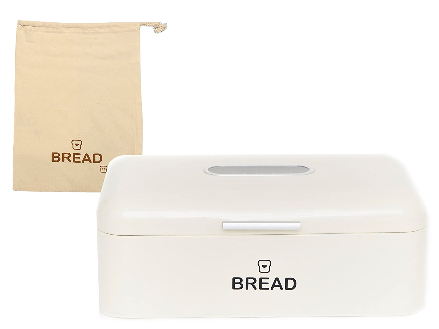 E&B Vintage Bread Box for Kitchen Stainless Steel Metal with Viewing Window Plus Free Bread Bag, Large Bread, Loaves, Pasgtires Bin Storage, Cream