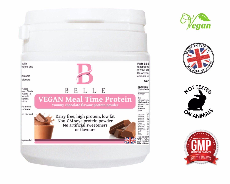 Belle® Vegan Tiempo de comidas Protein Powder - Chocolate Flavor Shake - Alto en proteínas, bajo en grasa sin sabores artificiales o edulcorantes - sin ...
