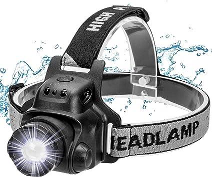 Ezfull Linterna frontal con sensor de gestos, LED, USB, resistente al agua, recargable, superbrillante, 4 luminosidades, ajustable a 90°, enfoque ...