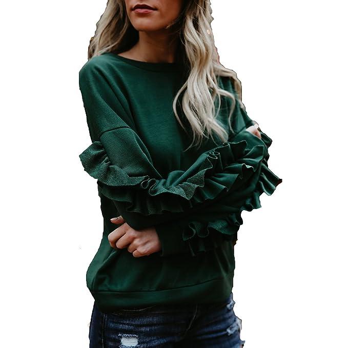 Juleya Moda Camiseta Mujer Color Sólido Patchwork Blusa Cuello Redondo Manga Larga T-Shirt Elegante Casual Suelto Camisa Otoño y Primavera Blusa Fiesta Club ...