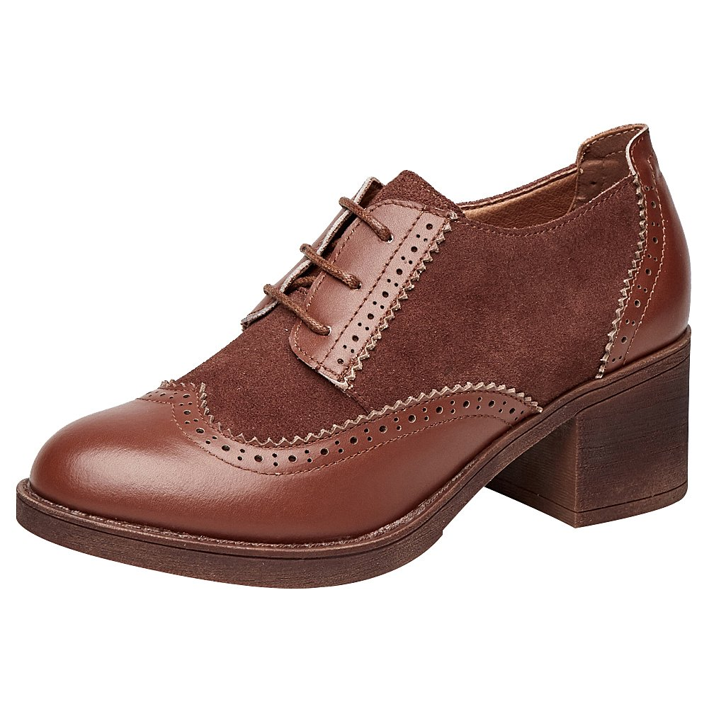 rismart Women's Chunky Heel Booties Lace up Wingtips Vintage Leather Oxfords Shoes SN02114(brown1,US8)