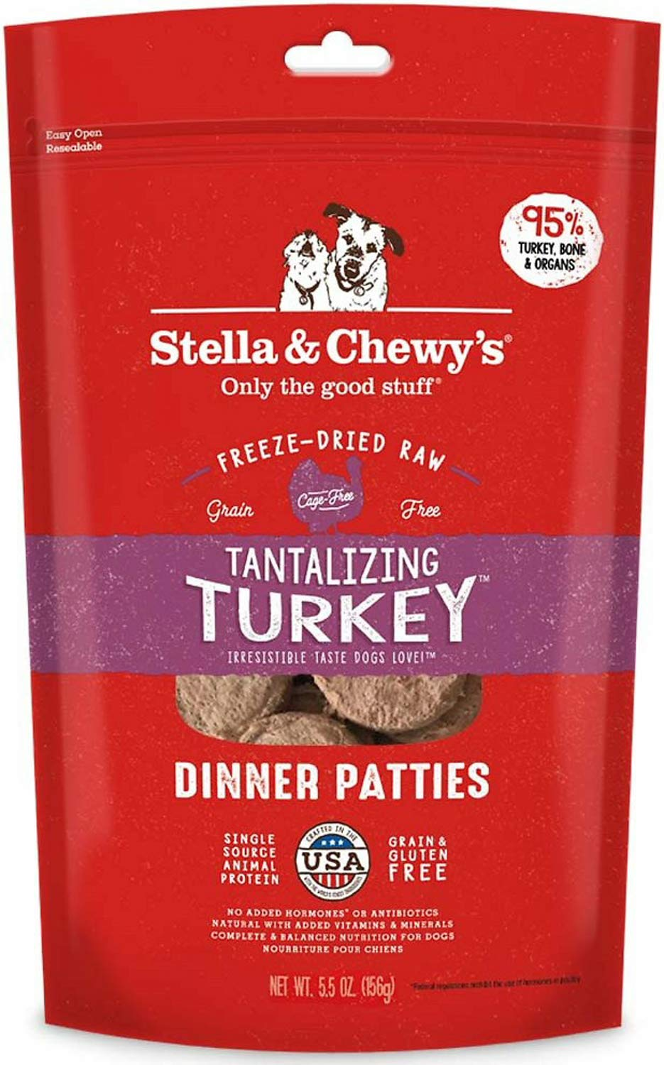 Stella & Chewy's Freeze-Dried Dinner Patties for Dogs, Tantalizing Turkey, 5.5 Ounce, 12 Pack