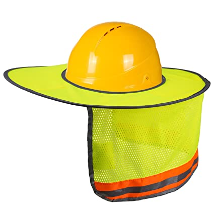 LUTER Hard Hat Sun Shade Neck Shield Sun Protection With Reflective Strip and High Visable Mesh Design For Hardhats/Helmet Construction(1 Pcs) - - Amazon. ...