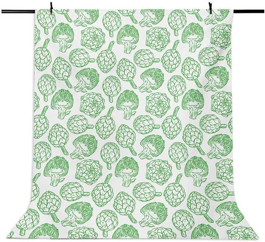 Artichoke 10x12 FT Photo Backdrops,Vegetables Hand Drawn Cooking Ingredients Healthy Foods Vegan Way Go Green Background for Baby Shower Bridal Wedding Studio Photography Pictures Pistachio Green