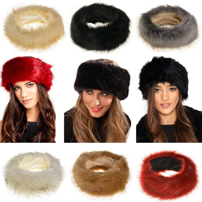 65e6d59c9af89 DOSOMI Winter Warmer Bomber Hats Women Faux Fluffy Fox Fur Hat Fashion  Headband Russian Thick Ears hat