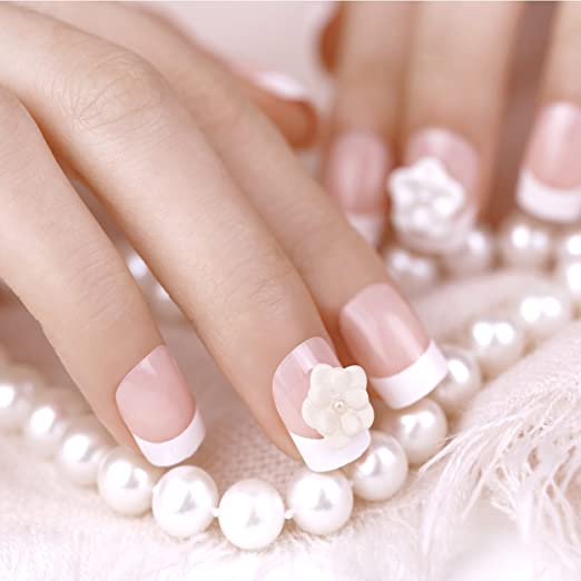 Amazon.com : ArtPlus 24pcs Bride White Tea Rose Elegant Touch French Manicure False Nails with Glue Full Cover Medium Length Fake Nails Art : Beauty