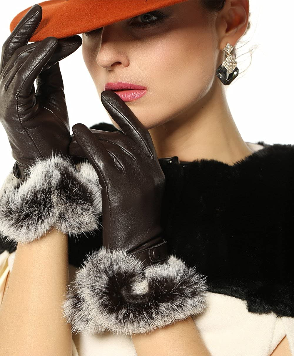 Vintage Style Gloves- Long, Wrist, Evening, Day, Leather, Lace Womens Luxury Winter Warm Genuine Soft Nappa Leather Dress Gloves with 100% Rabbit Fur Cuff $29.99 AT vintagedancer.com