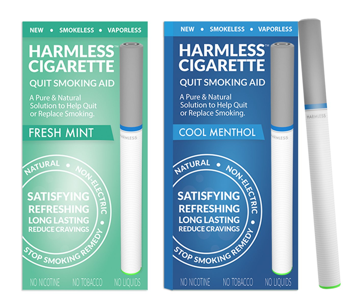 New | Quit Smoking Aid | Stop Smoking Remedy To Help Quit & Reduce Cravings | Natural & Therapeutic Quit Smoking Solution | Harmless Cigarette (2 Pack, Variation Set -, Fresh Mint / Cool Menthol)