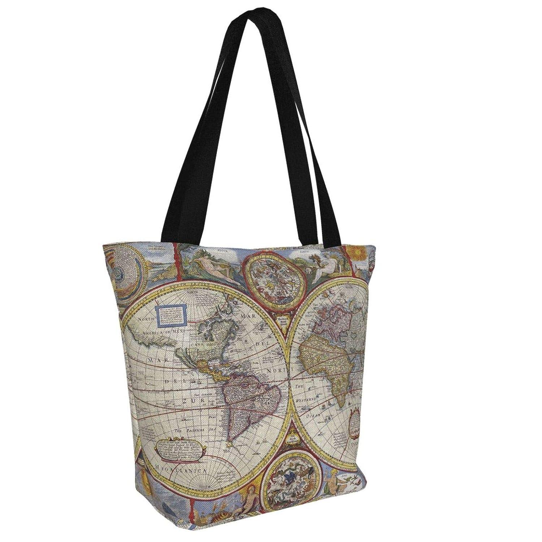 Jultid nötknäppare kvinnor stor storlek kanvas axelväska hobo crossbody handväska ledig bärkasse Vintage Geography World Map