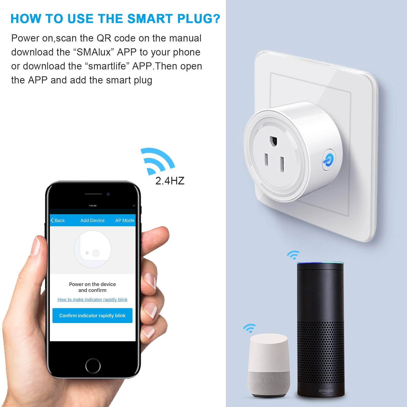Smalux Wifi Smart Plug Mini Oulet Compatible Compatible with Alexa/Google Home with Timer Remote Control,Voice Control Smartlife Smart Plugs No Hub Required (smart plug 4pack)