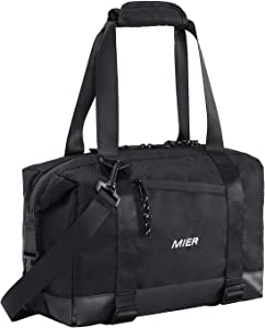 MIER Insulated Lunch Bag Tote with Shoulder Strap Leakproof Cooler Bag for Men and Women, 15 Can, Black