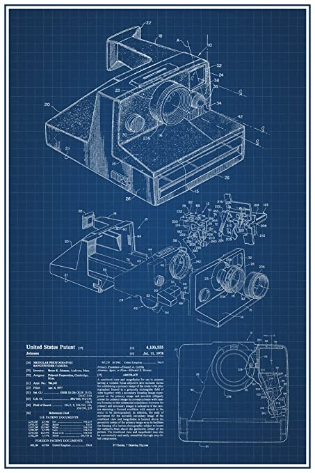 Amazon instant camera retro official patent blueprint poster instant camera retro official patent blueprint poster 12x18 inch malvernweather Choice Image
