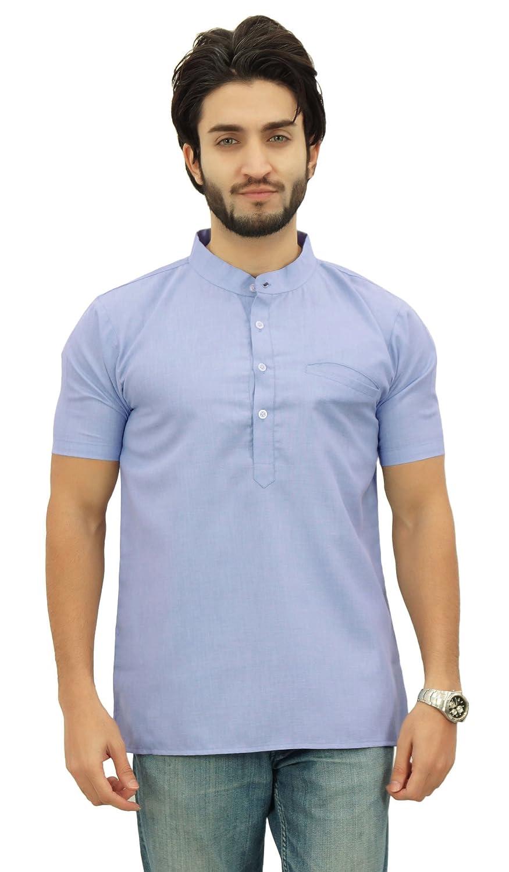 Atasi Men's Short Sleeve Cotton Mandarin Collar Shirt Ethnic Clothing