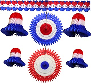 product image for 7-Piece Patriotic Themed Red White and Blue Honeycomb Party Decoration Kit