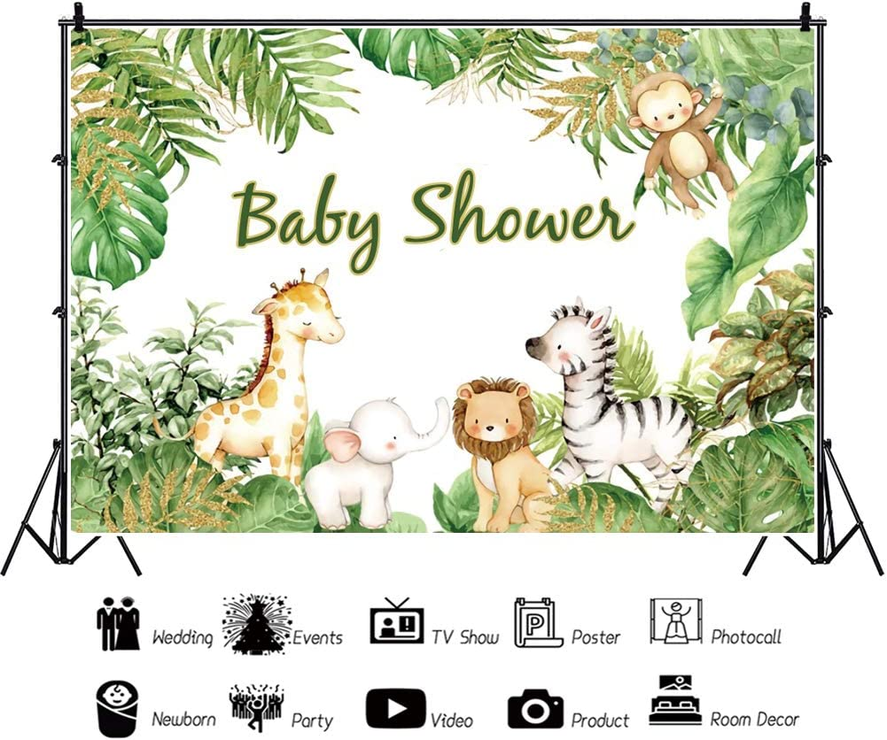 YEELE 10x6.5ft Baby Shower Backdrop Cute Elephant with Giraffe in Safari Park Photography Background Jungle Theme Kids Infant Newborn Photos Pastel Color Flower Digital Wallpaper Photobooth Props