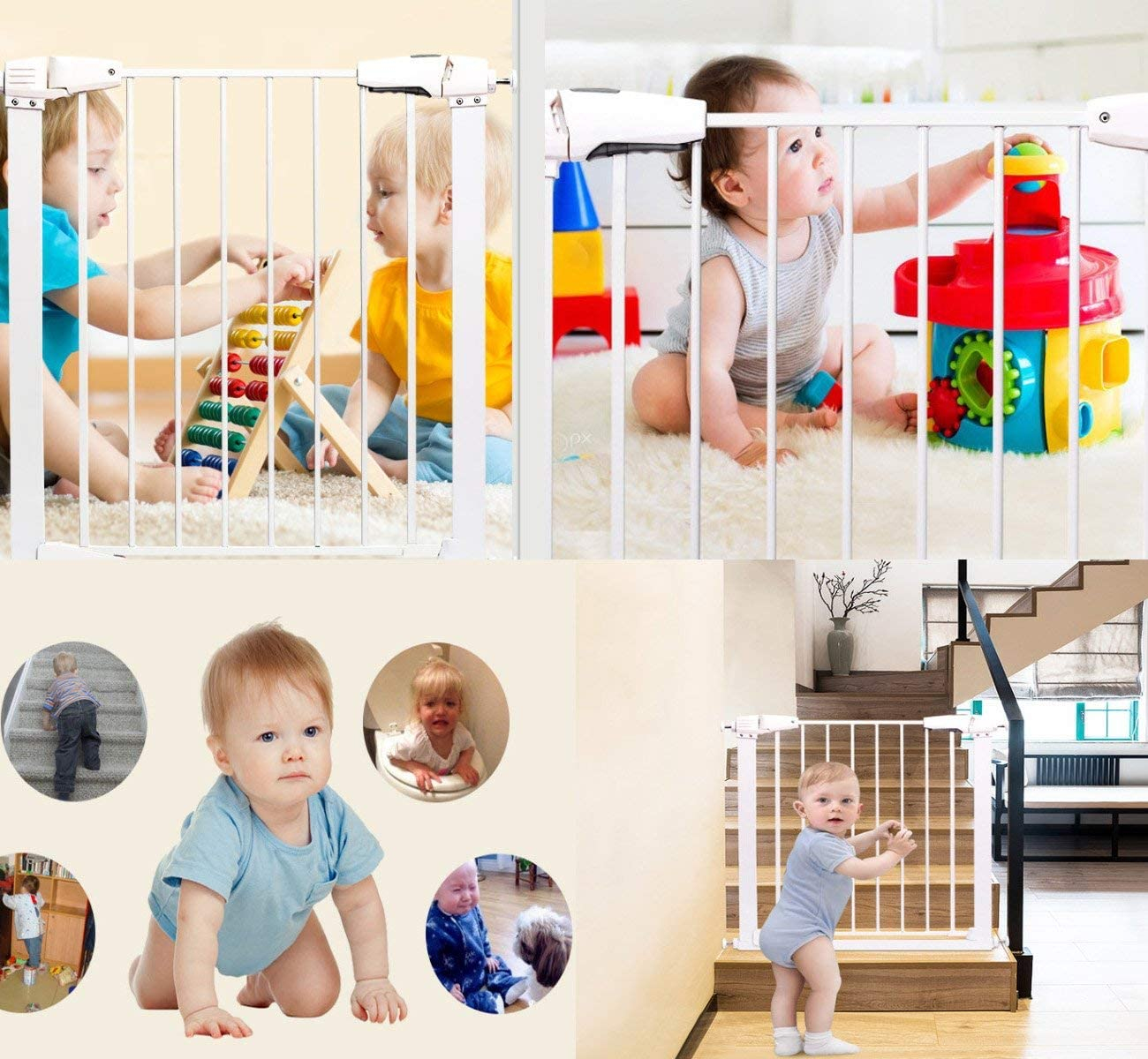 Barras de eje roscadas a presi/ón para puertas de beb/é puerta de perro blanco blanco 4 piezas de pernos de montaje con tornillo de eje para puerta de escalera