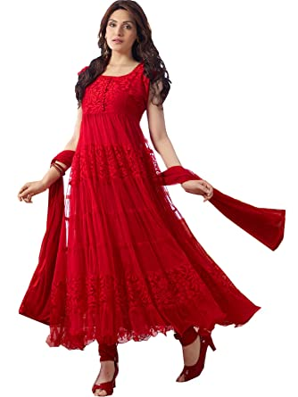 9acb4bced6926e Florence Women's Red Georgette Brasso Semi stitched Sawar  Suit(SB-3117-NEW): Amazon.in: Clothing & Accessories