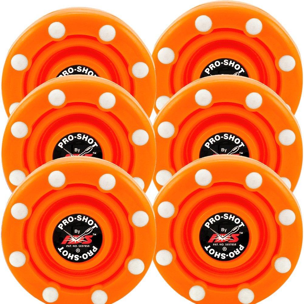 IDS 6 Pack of Roller Hockey Puck Pro Shot (Blaze Orange)