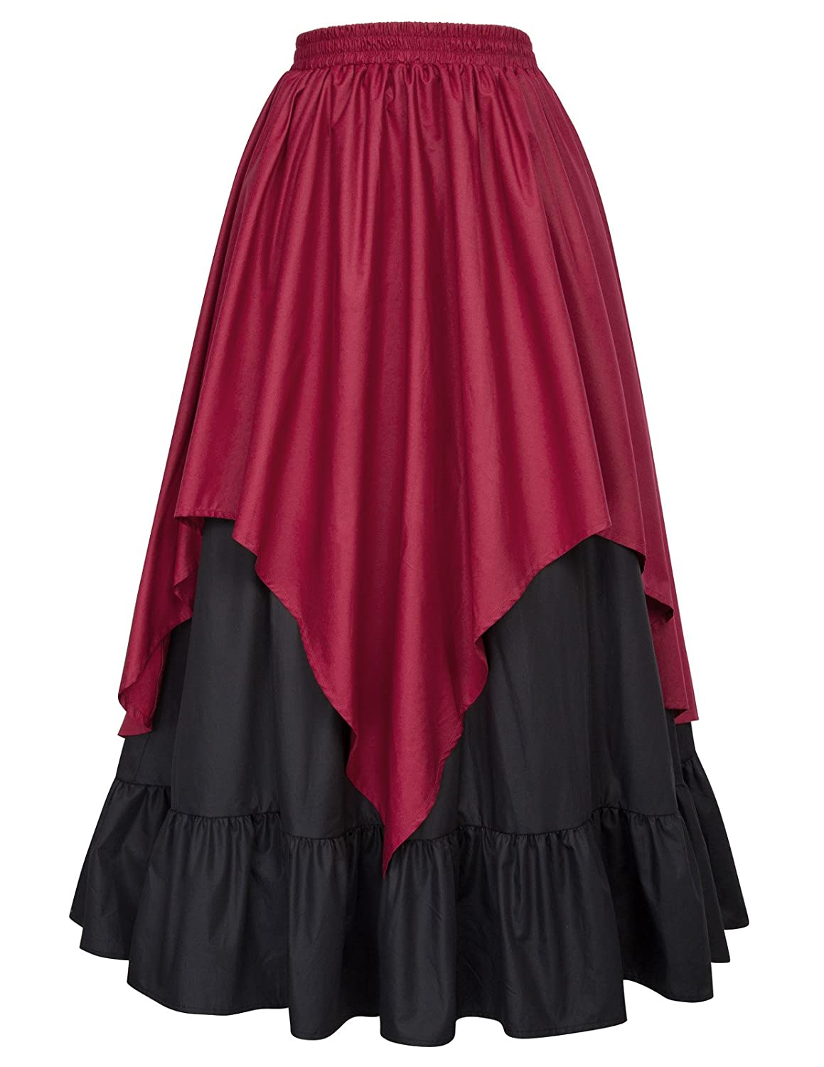 Women's Renaissance Black and Wine Layered Bustle Style Skirt - DeluxeAdultCostumes.com