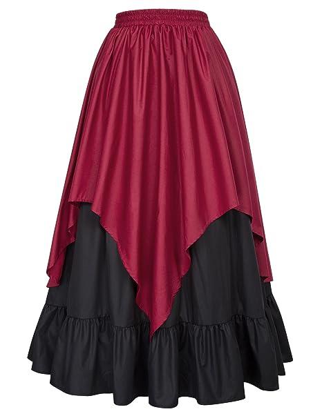 Falda Medieval de Baile/Flamenco para Mujer Volantes con 2 Capas Negro&Rojo S