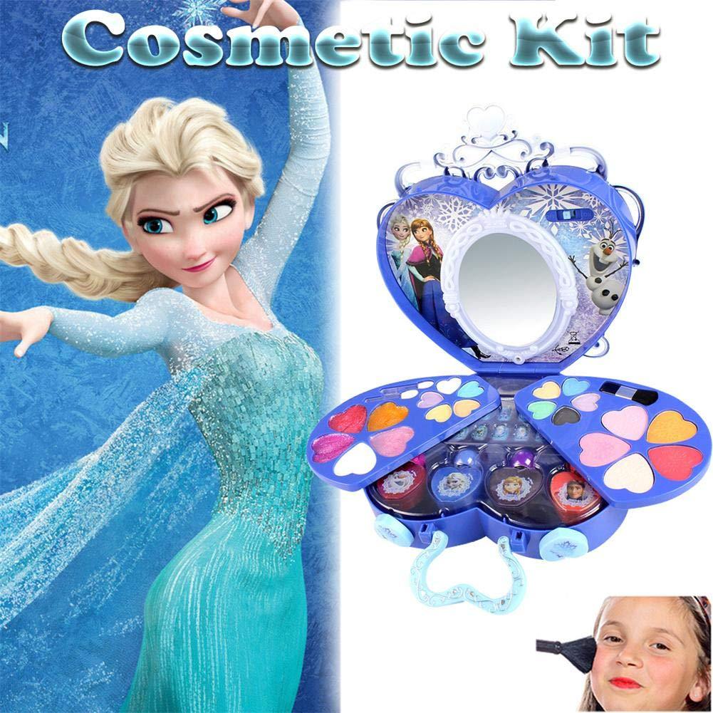 Cadeau id/éal pour les enfants Lavable et non toxique Princess Real Kit de maquillage avec /étui DISNEY 39Pcs Kit De Maquillage De Filles avec miroir-Frozen Series Princess