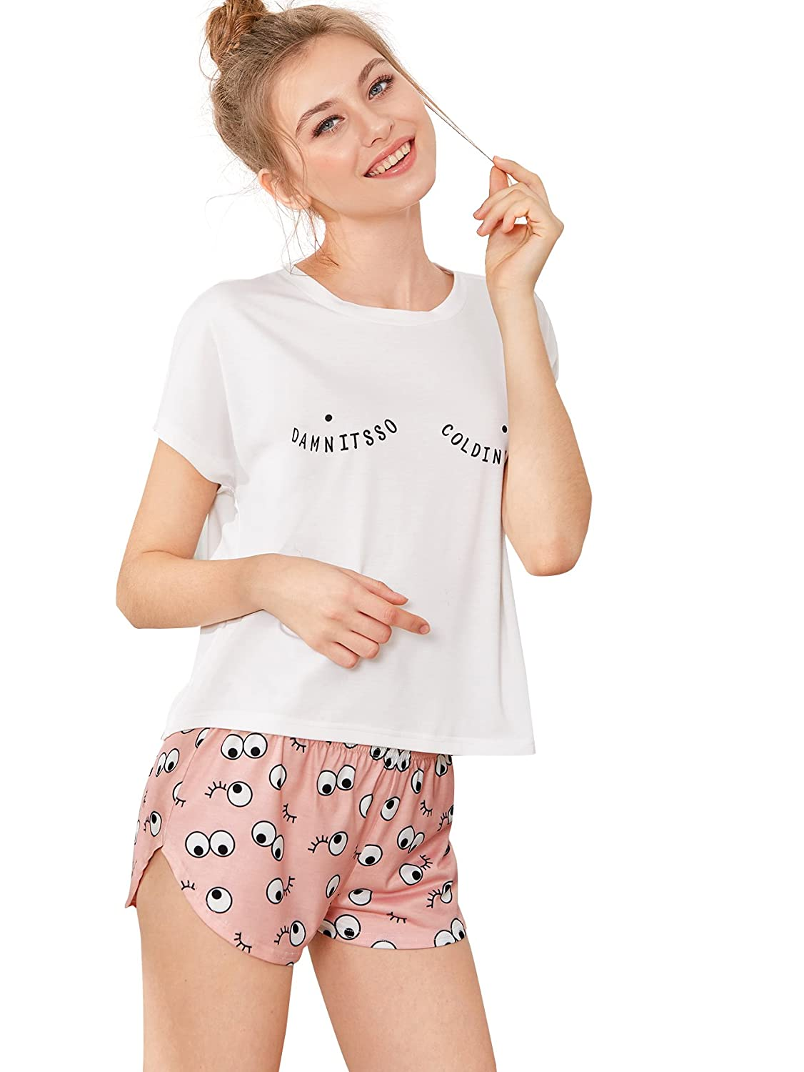 507935d215c White pink DIDK Women's Cute Cartoon Print Ice Tee and Shorts Pajama Set