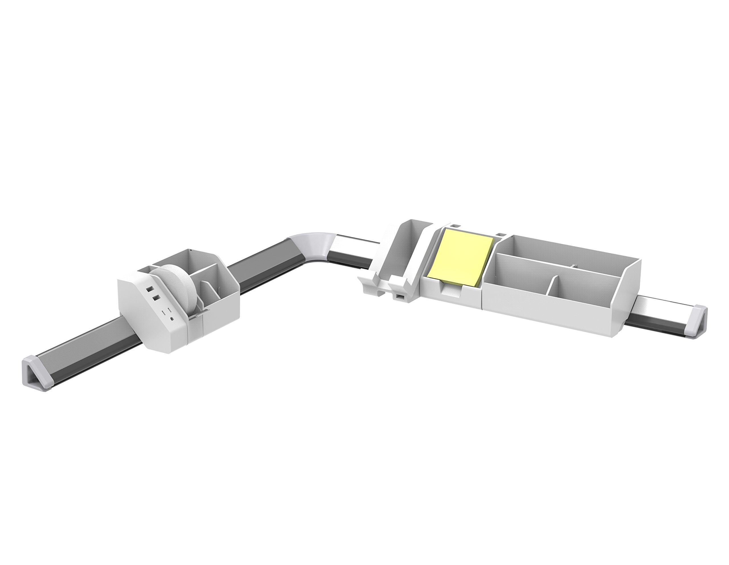 Bostitch Konnect 12-Piece Desktop Organizer Kit, Includes Cable Management Rails, Power Hub, Charging Phone Dock, Tape Dispenser, Sticky Notes, Storage Bins, White (KT-CKIT3-WHITE)